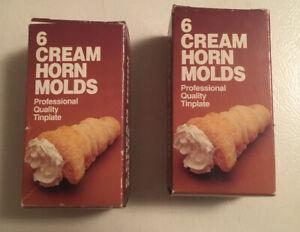 Vintage Fox Run 2 Boxes Of 6  (12 Total) Cream Horn Molds - Original Box #4508