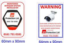 Monitorato a Casa Allarme Di Avvertimento & CCTV KIT Adesivo Vinile