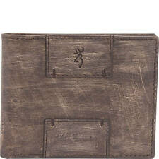 Browning Genuine Leather Bi-fold Billfold Wallet -  Heritage Wood Grain