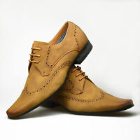 Mens Leather Suede Shoes Brown Tan Smart Lace Up Formal Dress UK 6 7 8 9 10 11