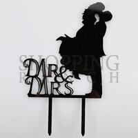 Wedding Cake Topper Mr & Mrs Bride & Groom Love Black Acrylic Decoration