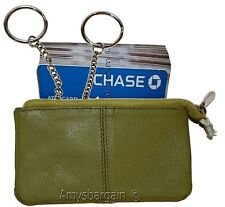 Change Purse, Leather mini wallet, Card case, Zip coin case, key ring zip wallet