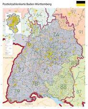 Große XL Postleitzahlenkarte Baden-Württemberg, PLZ Poster Karte Land, B0, 2018