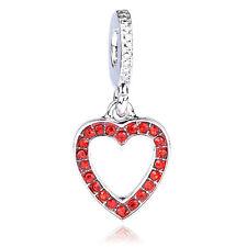 925 Silver Love Red CZ Dangle Charm Bead Fit Necklace Bracelet Christmas