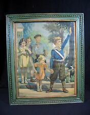 """Vintage Hy Hintermeister Print  CHILD SAFETY – Dated 1937 – 19"""" x 16"""" Wood Frame"""