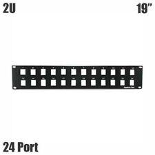 "24-Port 2U 19"" Rack Mount Blank Patch Panel Black For Keystone Jack"