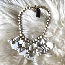 NWT J.Crew White Resin Plastic Beaded Large Statement Necklace