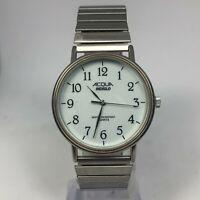 Acqua Indiglo Mens Vintage CR 2016 Cell Silver Tone Bracelet Quartz Analog Watch