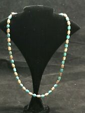 Bronze Milor Italy Necklace Turquoise & Rose Gold Plated Bronze Beads