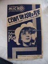 Partition un jour de fête Edith Piaf