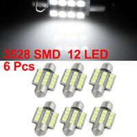 6pcs White 31mm 3528 SMD 12 LED Car Lights Festoon Interior Dome Map Lamp Bulb