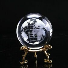 Crystal Glass World Globe Decorative Laser Engraved Miniature Earth Map 60mm NEW