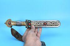 Primitive Silk Rare Iron Tibetan silver carved Gemstone handmade Old Tibet Nepal