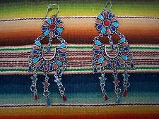 Southwestern Large Native Style Petit Point Cluster Chandelier Enamel Earrings