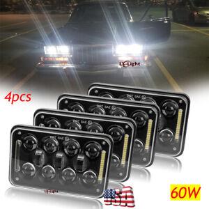 "Black 4pc 4x6"" Cree Led Headlights Sealed Beam for GMC W3500 W4500 W5500 Forward"