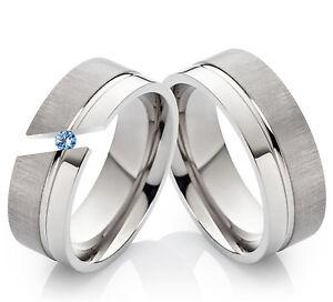 2 Verlobungsringe Eheringe Partnerrringe Titan echtem Blautopas Ring Gravur TD1T