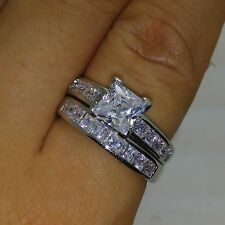 Princess Cut 14K White Gold Over 2Ct Diamond Wedding Ring Gift Set Size 4-10