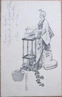 Western Geigha Girl 1903 Postcard: Woman Preparing Food - Japanese/Japan