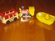 Fisher Price Lot of 3 Toys - Toot-Toot Engine + Floating Barge + Mini-Bus - Used