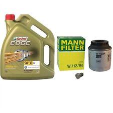 Mann Ölfilter + 5 Liter Castrol Öl + Febi Ablassschraube Audi Seat Skoda VW