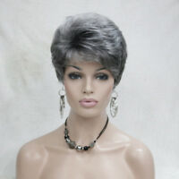 A22 Synthetic Grey Women Lady Short Curly Hair Wig Natural Full Wig Cospaly M