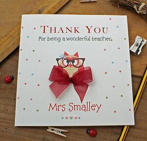 "Handmade Personalised Thank You Teacher Teaching Assistant Card ""Owl"""