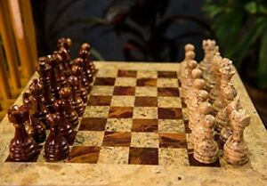 Marble Chess Set Handmade Unique Coral & Red 16x16 Premium Quality Natural Stone