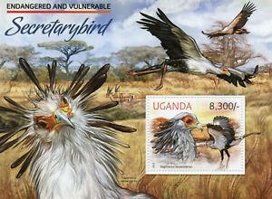 Uganda Birds of Prey on Stamps 2012 MNH Secretarybird Endangered Species 1v S/S