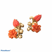 Carved Coral Celluloid Gold Tone & Faux Pearl Screw Back Flower Earrings Vintage