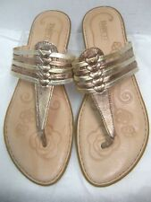 Born Womens Thong Sandals Size 9 M Shiny Gold & Bronze Strappy Flip flops # B