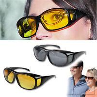 Unisex HD Night Vision Driving Men Women Sunglasses Over Wrap Around Glasses