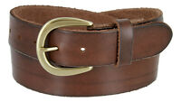"Womens One Piece Full Grain Leather Casual Jean Belt, 1-1/2"" Wide"