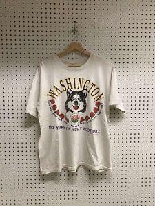 Vintage University Of Washington Huskies Rose Bowl White Graphic T-Shirt Sz L