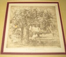 "J. Carl Hancock Framed New Orleans Etching ""Dueling Oaks""  City Park (1890-1966)"