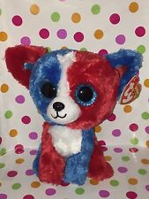 """Ty Beanie Boo 6"""" Valor the Red,White & Blue Cracker Barrel Exclusive Dog"""