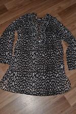LISA MALO Gr. 38 schwarz/ weiss /muster Tunika langarm transparent ,Bluse,top