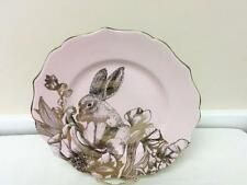 222 Fifth Garden Playtime 2 Salad Dessert Plates Pink with Gold Bunny Rabbit NEW