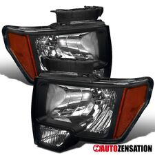For 2009-2014 Ford F150 Pair Black Clear Lens Headlights Left+Right Lamps+Amber