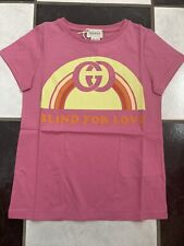 NWT 100% AUTH Gucci Kids Blind For Love Rainbow print Cotton T-shirt