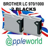 2 Black Cartuchos de tinta compatible con LC970 / LC1000 [not Brother original]