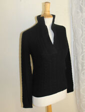 NWT Ralph Lauren PS Petite Small BLACK 100% Cashmere Cable V-Neck Knit Sweater