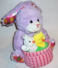 "purple singing/swaying bunny rabbiit w/chicks ""Here Comes Peter Cottontail"""