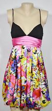 JODI KRISTOPHER White Multicolor Floral Print Dress 1 Black Bodice Bubble Hem