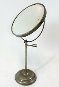 "Antique 15"" Apollo Cast Metal Beveled Edge Free Standing Round Shaving Mirror"