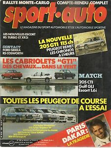 SPORT AUTO 289 1986 RALLYE MONTE CARLO PARIS DAKAR 205 GTI 205 T16 505 TURBO