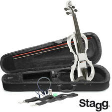 NEW Stagg EVN X 4/4/WH WHITE Electric Violin Package W/Case, Headphones & MORE
