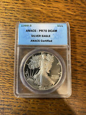1988-S Proof American Silver Eagle One Dollar Coin Anacs Pr70 Dcam