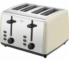 LOGIK L04TC19 4-Slice Toaster - Cream & Silver - Currys