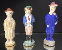 Lot of (3) Early Folk Art Carved Figures Painted Victorian Era 19th - 20th Cent.