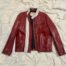 Men's Gap Product RED Red And White Leather Jacket - Size Large